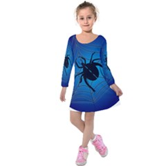 Spider On Web Kids  Long Sleeve Velvet Dress