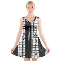 Whitney Museum Of American Art V Neck Sleeveless Skater Dress