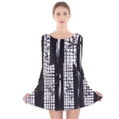 Whitney Museum Of American Art Long Sleeve Velvet Skater Dress