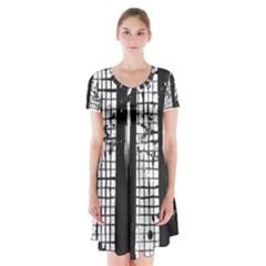 Whitney Museum Of American Art Short Sleeve V-neck Flare Dress