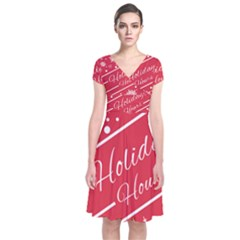 Winter Holiday Hours Short Sleeve Front Wrap Dress