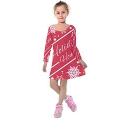 Winter Holiday Hours Kids  Long Sleeve Velvet Dress