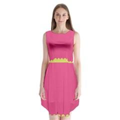 Pink Yellow Sleeveless Chiffon Dress