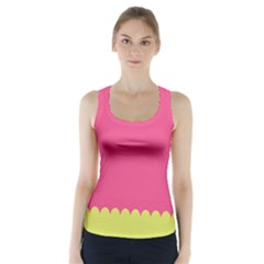 Pink Yellow Racer Back Sports Top
