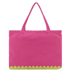 Pink Yellow Medium Zipper Tote Bag