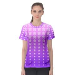 Purple And Pink Stars Women s Sport Mesh Tee
