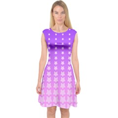 Purple And Pink Stars Line Capsleeve Midi Dress