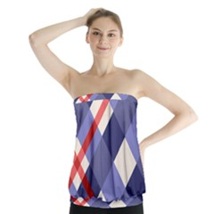 Red And Purple Plaid Strapless Top