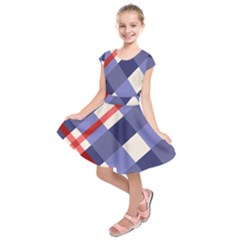 Red And Purple Plaid Kids  Short Sleeve Dress