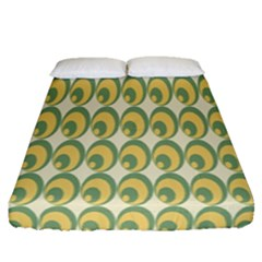 Pattern Circle Green Yellow Fitted Sheet (queen Size)