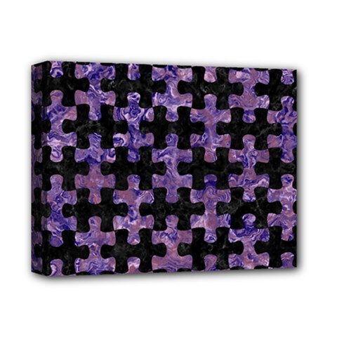 Puzzle1 Black Marble & Purple Marble Deluxe Canvas 14  X 11  (stretched)