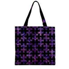 Puzzle1 Black Marble & Purple Marble Zipper Grocery Tote Bag
