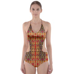 Ronald Hand Print Cut Out One Piece Swimsuit