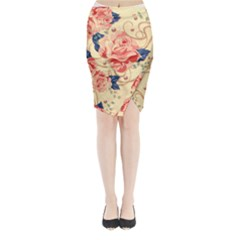 Beautiful Pink Roses Midi Wrap Pencil Skirt