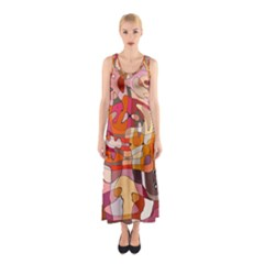 Abstract Abstraction Pattern Moder Sleeveless Maxi Dress