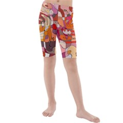 Abstract Abstraction Pattern Moder Kids  Mid Length Swim Shorts