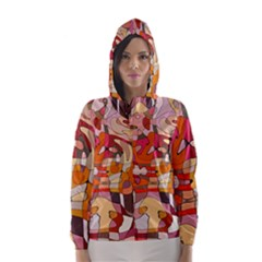 Abstract Abstraction Pattern Moder Hooded Wind Breaker (women)