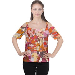 Abstract Abstraction Pattern Moder Women s Cutout Shoulder Tee
