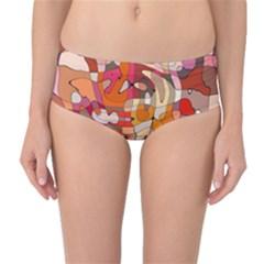 Abstract Abstraction Pattern Moder Mid Waist Bikini Bottoms