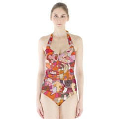 Abstract Abstraction Pattern Moder Halter Swimsuit