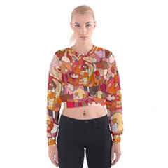 Abstract Abstraction Pattern Moder Women s Cropped Sweatshirt