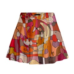Abstract Abstraction Pattern Moder Mini Flare Skirt