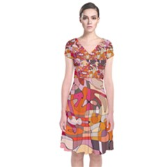 Abstract Abstraction Pattern Moder Short Sleeve Front Wrap Dress