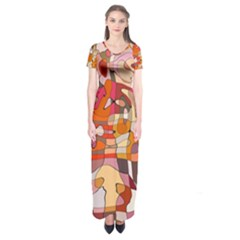 Abstract Abstraction Pattern Moder Short Sleeve Maxi Dress