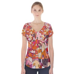 Abstract Abstraction Pattern Moder Short Sleeve Front Detail Top