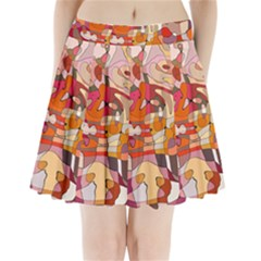 Abstract Abstraction Pattern Moder Pleated Mini Skirt