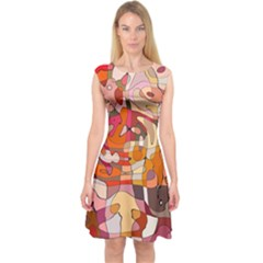 Abstract Abstraction Pattern Moder Capsleeve Midi Dress