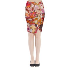 Abstract Abstraction Pattern Moder Midi Wrap Pencil Skirt