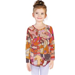 Abstract Abstraction Pattern Moder Kids  Long Sleeve Tee