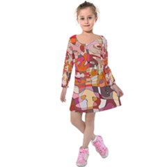 Abstract Abstraction Pattern Moder Kids  Long Sleeve Velvet Dress
