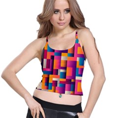 Abstract Background Geometry Blocks Spaghetti Strap Bra Top