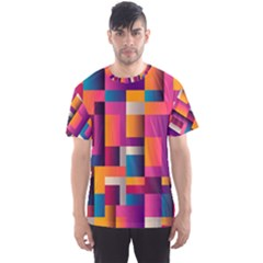 Abstract Background Geometry Blocks Men s Sport Mesh Tee