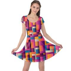 Abstract Background Geometry Blocks Cap Sleeve Dresses