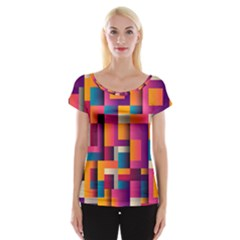 Abstract Background Geometry Blocks Women s Cap Sleeve Top