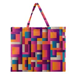 Abstract Background Geometry Blocks Zipper Large Tote Bag