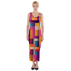 Abstract Background Geometry Blocks Fitted Maxi Dress