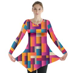 Abstract Background Geometry Blocks Long Sleeve Tunic