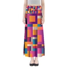 Abstract Background Geometry Blocks Maxi Skirts