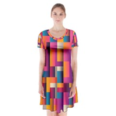 Abstract Background Geometry Blocks Short Sleeve V Neck Flare Dress