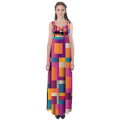 Abstract Background Geometry Blocks Empire Waist Maxi Dress