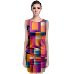 Abstract Background Geometry Blocks Classic Sleeveless Midi Dress
