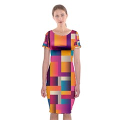 Abstract Background Geometry Blocks Classic Short Sleeve Midi Dress