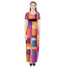 Abstract Background Geometry Blocks Short Sleeve Maxi Dress