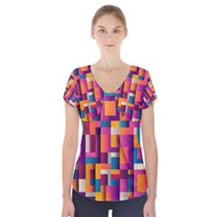 Abstract Background Geometry Blocks Short Sleeve Front Detail Top