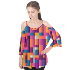 Abstract Background Geometry Blocks Flutter Tees
