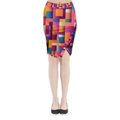 Abstract Background Geometry Blocks Midi Wrap Pencil Skirt